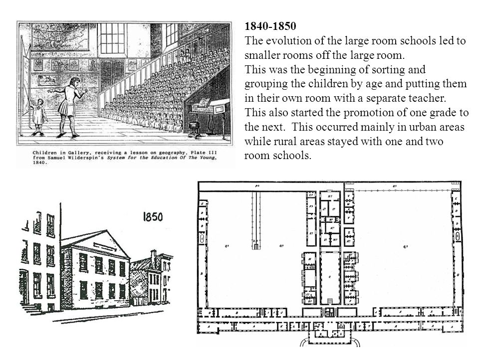 1840-1850 The evolution of the large room schools led to smaller rooms off the large room. This was the beginning of sorting and grouping the children