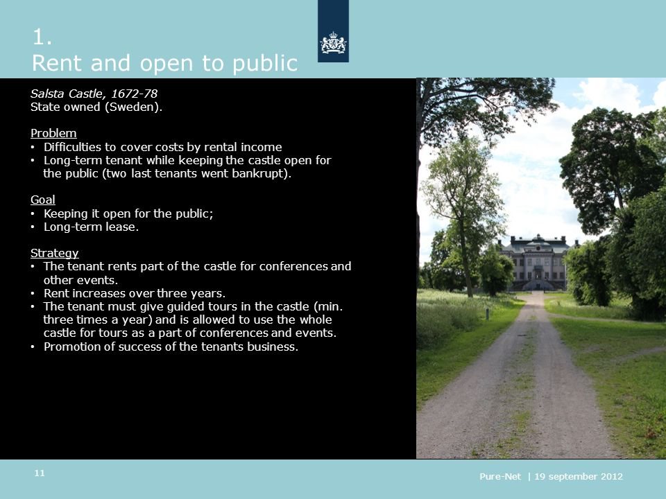 1.Rent and open to public Salsta Castle, 1672-78 State owned (Sweden).
