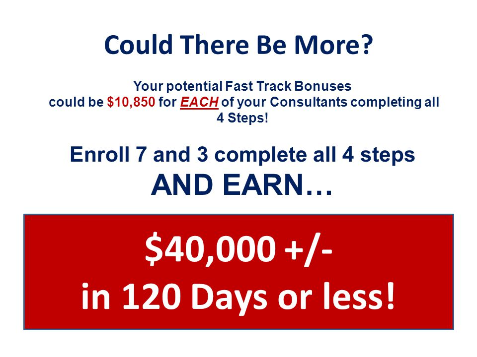 Could There Be More? Your potential Fast Track Bonuses could be $10,850 for EACH of your Consultants completing all 4 Steps! Enroll 7 and 3 complete a