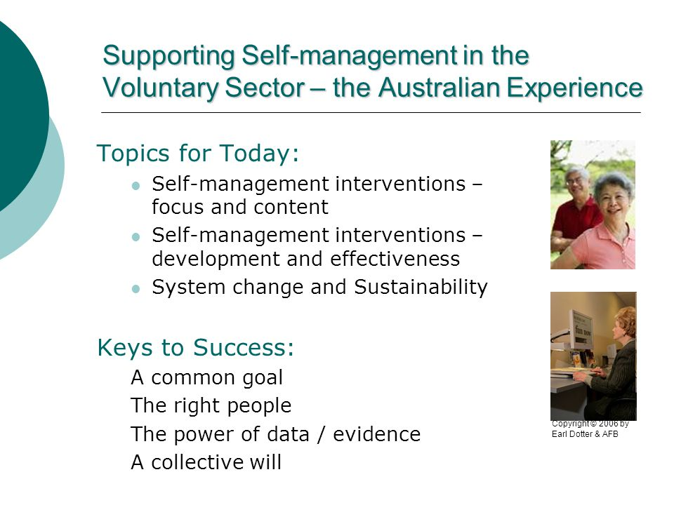 Self-management in the voluntary sector– Development and Effectiveness Key to Development