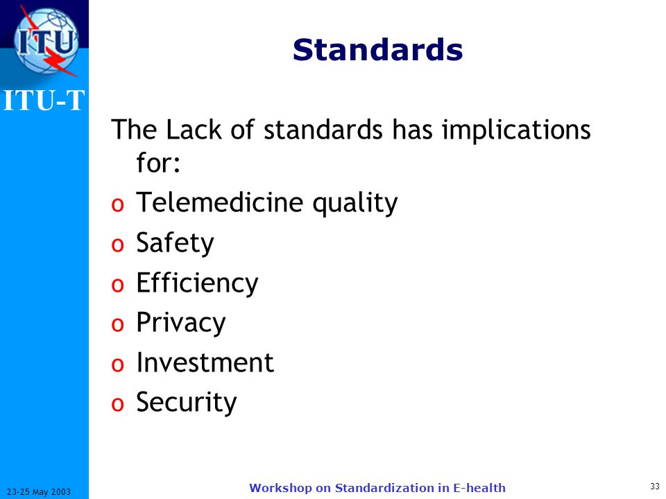ITU-T 33 23-25 May 2003 Workshop on Standardization in E-health Standards The Lack of standards has implications for: o Telemedicine quality o Safety o Efficiency o Privacy o Investment o Security