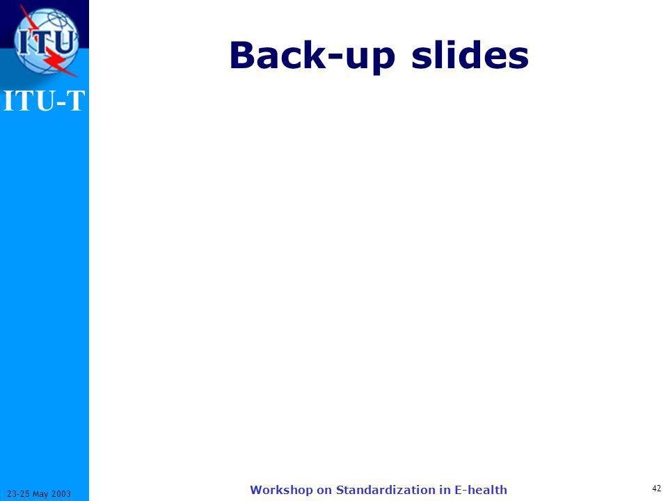 ITU-T 42 23-25 May 2003 Workshop on Standardization in E-health Back-up slides