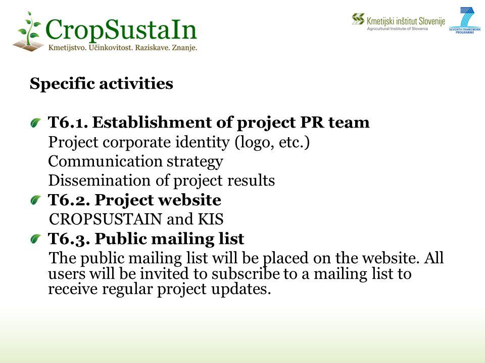 Specific activities T6.1.