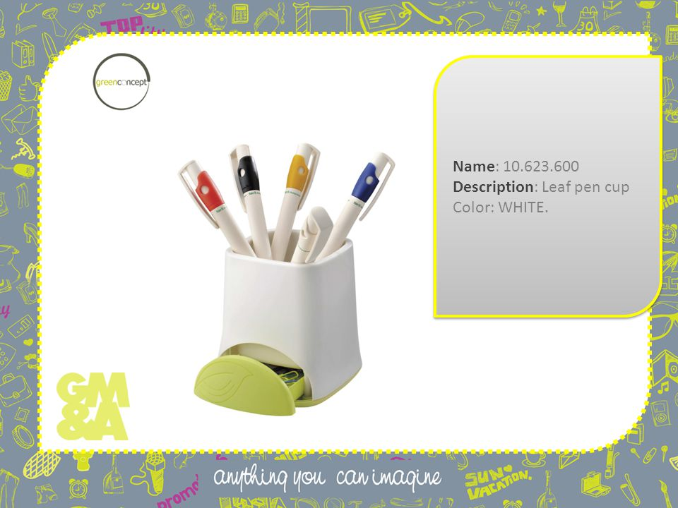 Name: 10.623.600 Description: Leaf pen cup Color: WHITE.