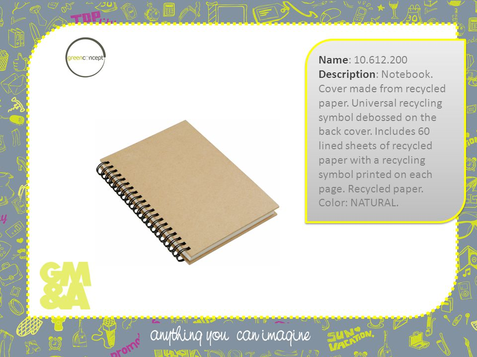 Name: 10.612.200 Description: Notebook. Cover made from recycled paper.