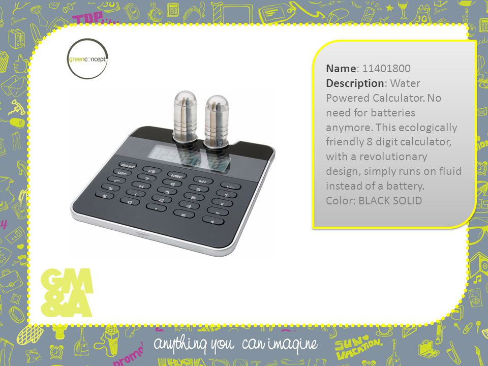 Name: 11401800 Description: Water Powered Calculator.