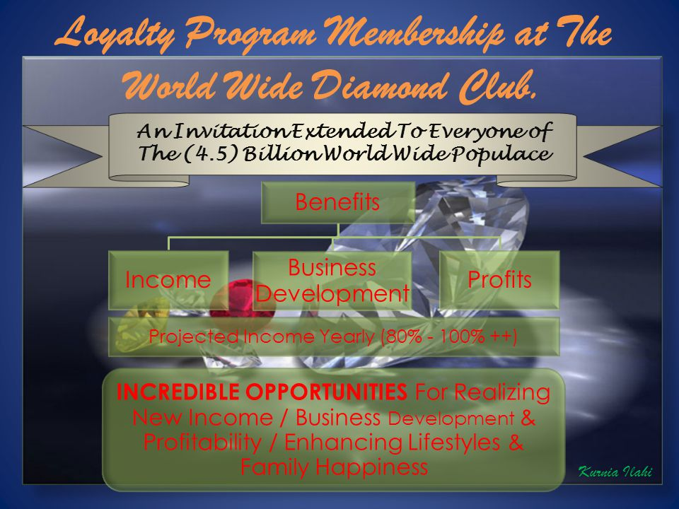 An Invitation Extended To Everyone of The (4.5) Billion World Wide Populace Benefits Income Business Development Profits Projected Income Yearly (80% - 100% ++) INCREDIBLE OPPORTUNITIES For Realizing New Income / Business Development & Profitability / Enhancing Lifestyles & Family Happiness Kurnia Ilahi Loyalty Program Membership at The World Wide Diamond Club.