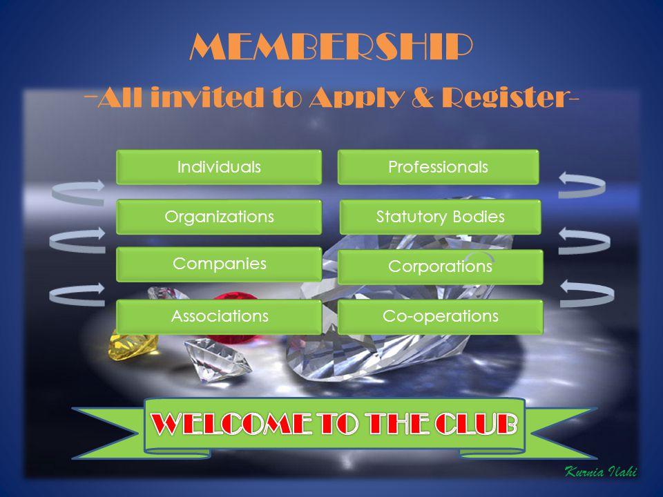 MEMBERSHIP - All invited to Apply & Register- Kurnia Ilahi
