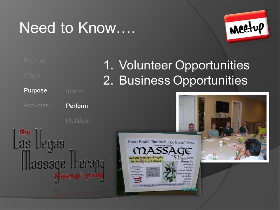 Need to Know…. Premise Origin Purpose Activities Inform Perform Multiform 1.Volunteer Opportunities 2.Business Opportunities
