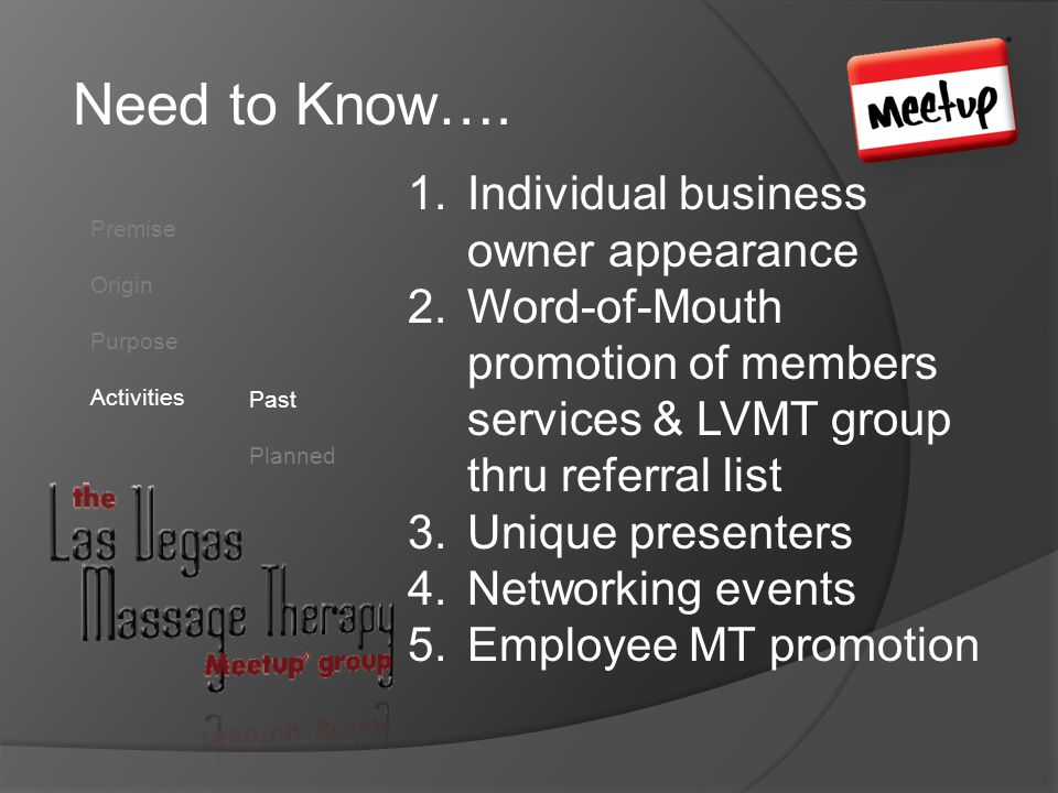 Need to Know…. Premise Origin Purpose Activities Past Planned 1.Individual business owner appearance 2.Word-of-Mouth promotion of members services & L
