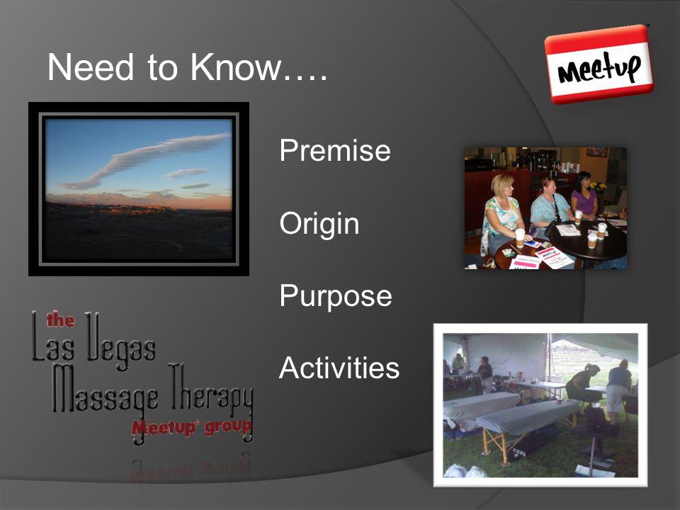 Need to Know…. Premise Origin Purpose Activities