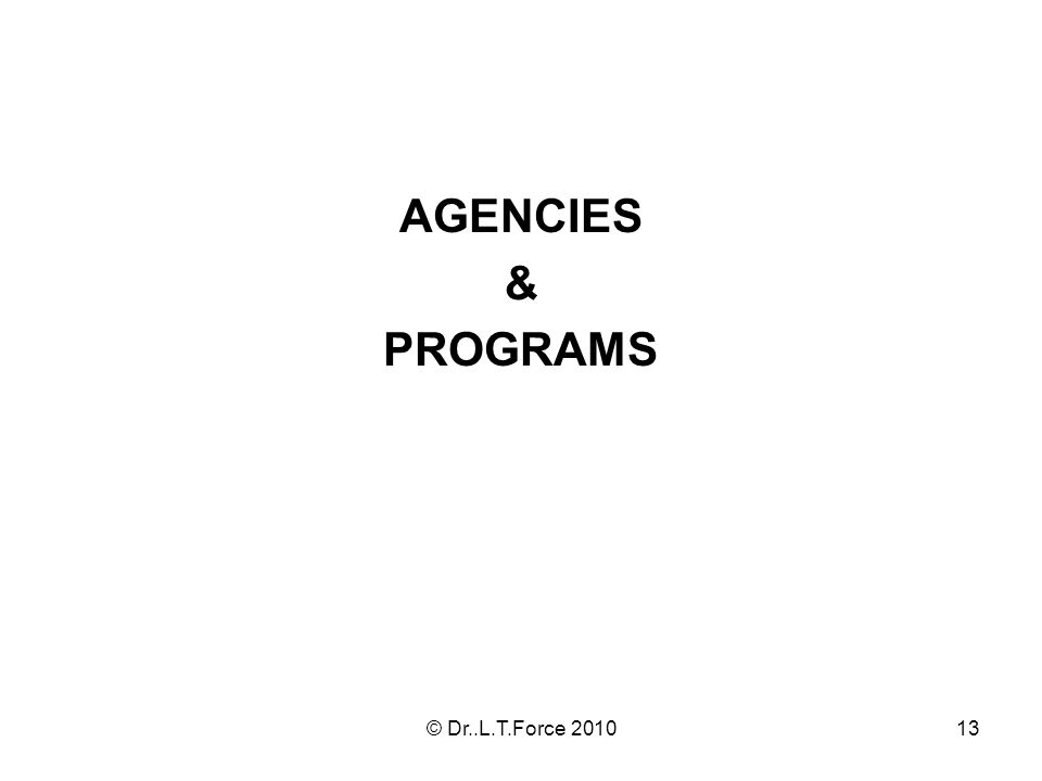 13 AGENCIES & PROGRAMS © Dr..L.T.Force 2010