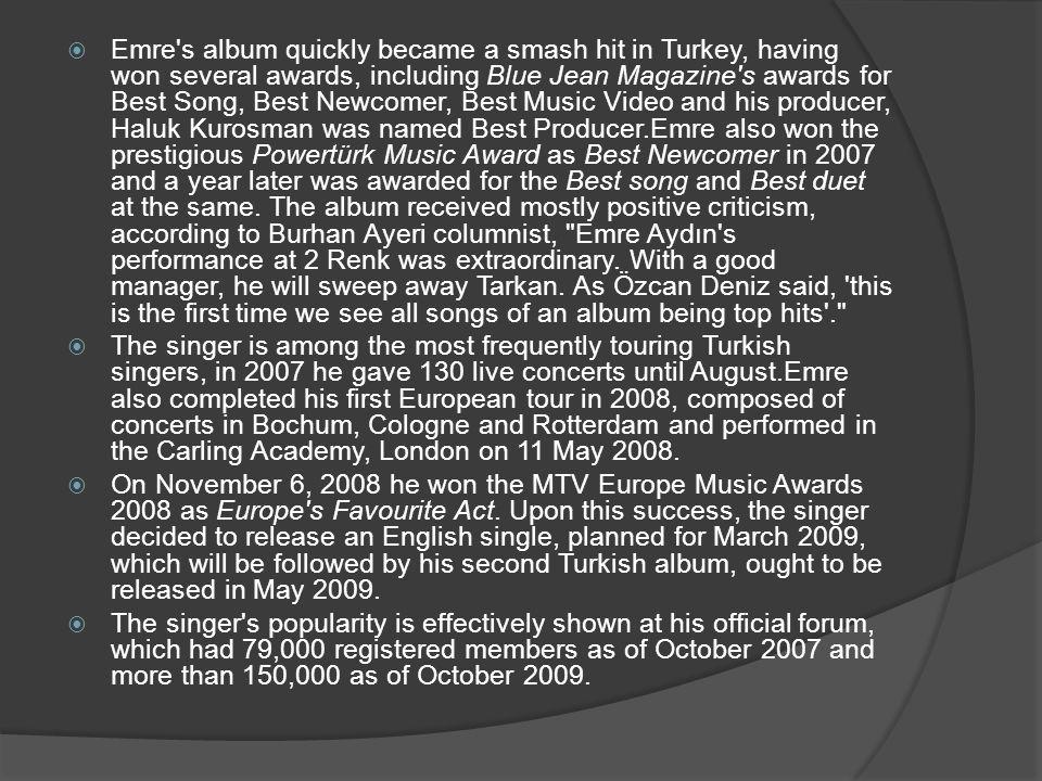 Awards Emre Aydin s awards listed in timely order, international awards in bold: 10.