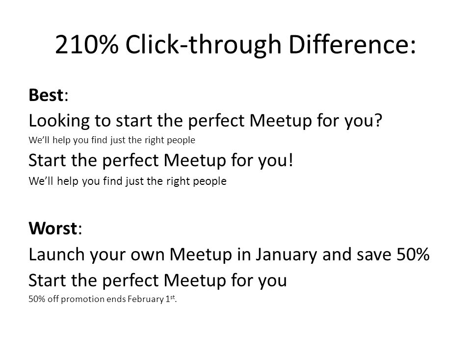 210% Click-through Difference: Best: Looking to start the perfect Meetup for you? Well help you find just the right people Start the perfect Meetup fo