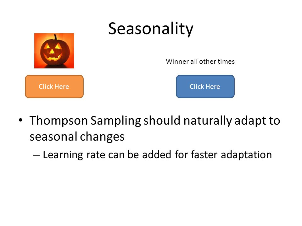 Seasonality Thompson Sampling should naturally adapt to seasonal changes – Learning rate can be added for faster adaptation Click Here Winner all othe