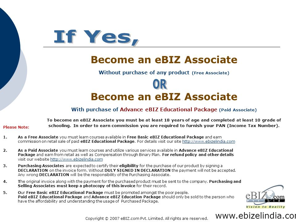Copyright © 2007 eBIZ.com Pvt. Limited. All rights are reserved. How to make Money on the INTERNET W ould you be Interested? www.ebizelindia.com Would