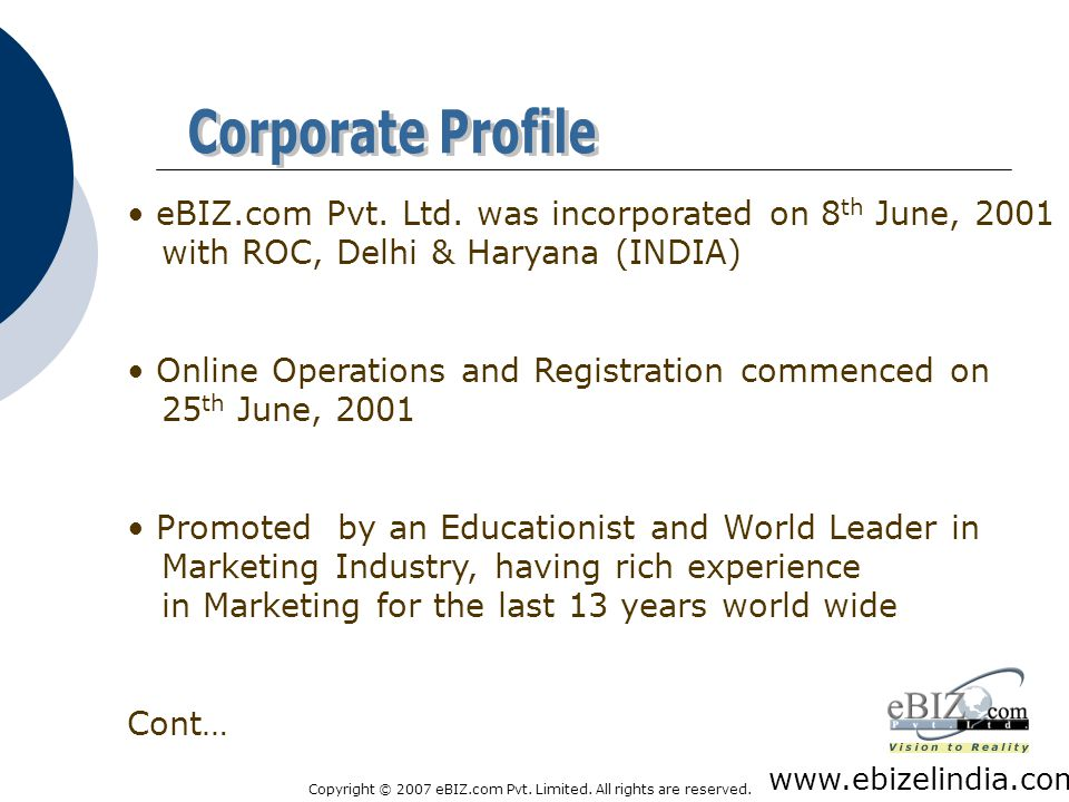 Copyright © 2007 eBIZ.com Pvt.Limited. All rights are reserved.