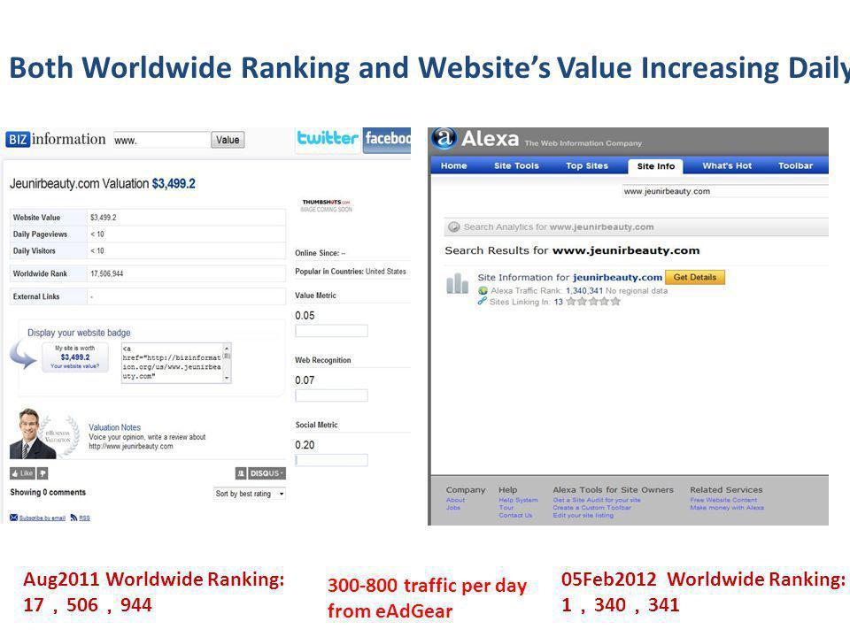 Aug2011 Worldwide Ranking: 17 506 944 05Feb2012 Worldwide Ranking: 1 340 341 300-800 traffic per day from eAdGear