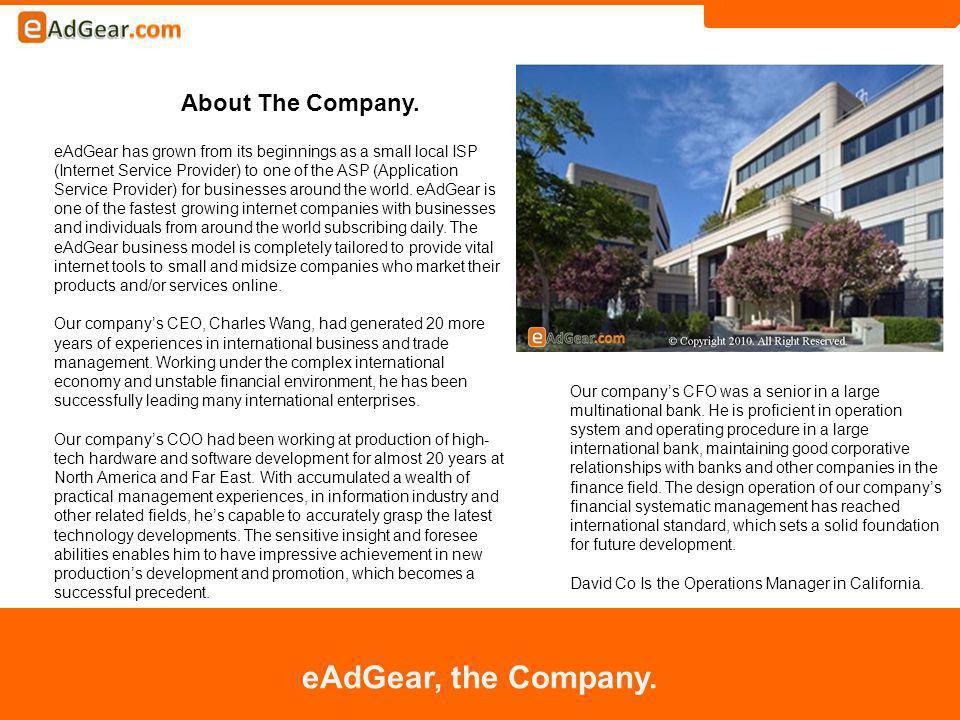 About The Company. eAdGear, the Company.