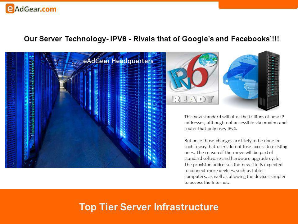 Our Server Technology- IPV6 - Rivals that of Googles and Facebooks!!.