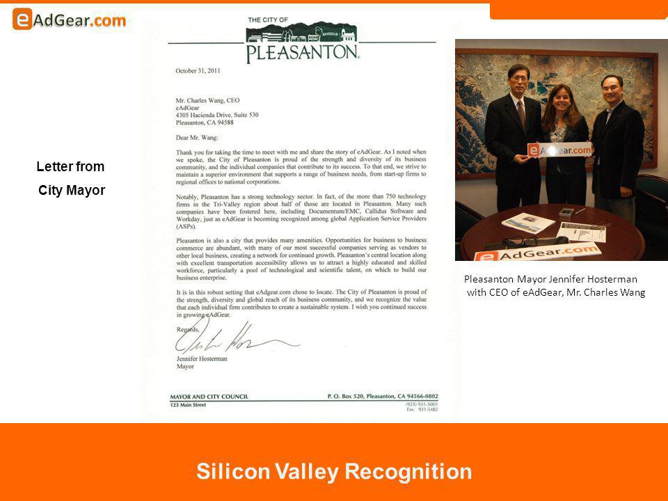 Silicon Valley Recognition Letter from City Mayor Pleasanton Mayor Jennifer Hosterman with CEO of eAdGear, Mr.