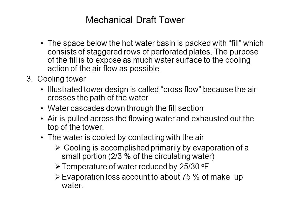 Mechanical Draft Tower The space below the hot water basin is packed with fill which consists of staggered rows of perforated plates.