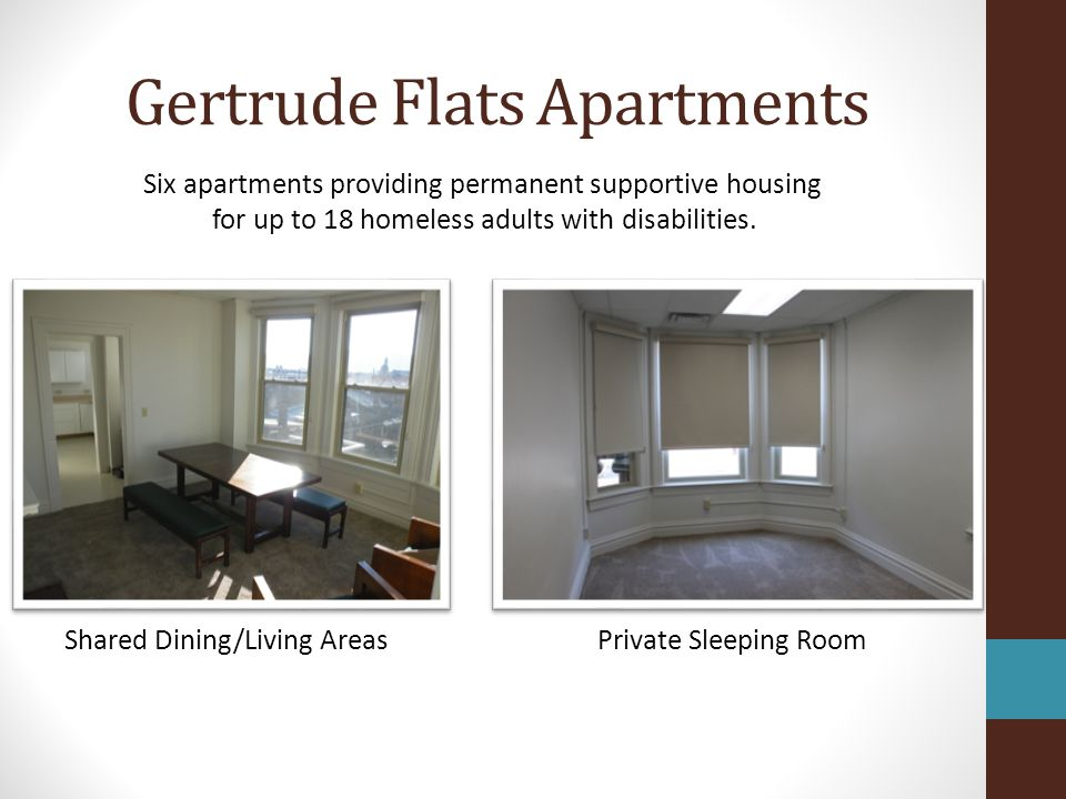 Gertrude Flats Apartments Shared Kitchen Shared Bath Facilities Six apartments providing permanent supportive housing for up to 18 homeless adults with disabilities.