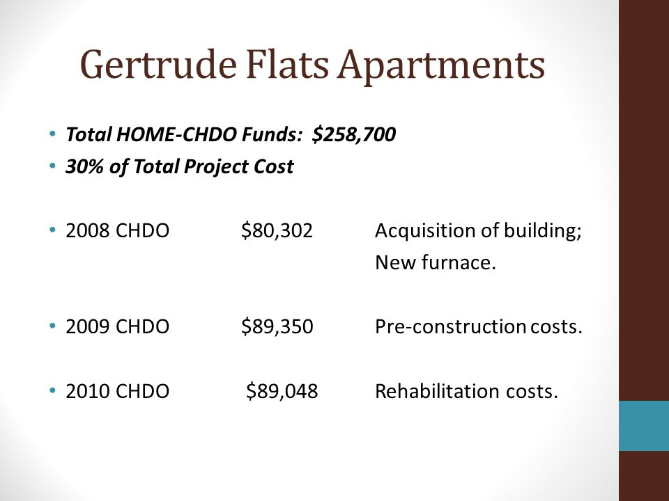 Gertrude Flats Apartments Total Other Project Funds: $616,452 70% of Total Project Cost FHLB Affordable Housing Program: $209,319 WV Affordable Housing Trust Fund: $150,000 WV Housing Development Fund: $125,292 SHP Operating funds: $10,000 HUD Supportive Housing Program: $61,142 Donations: $60,699