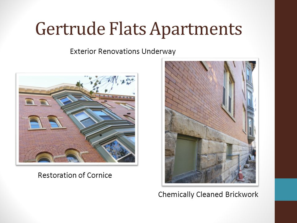 Gertrude Flats Apartments Exterior Renovations Underway Restoration of Cornice Chemically Cleaned Brickwork