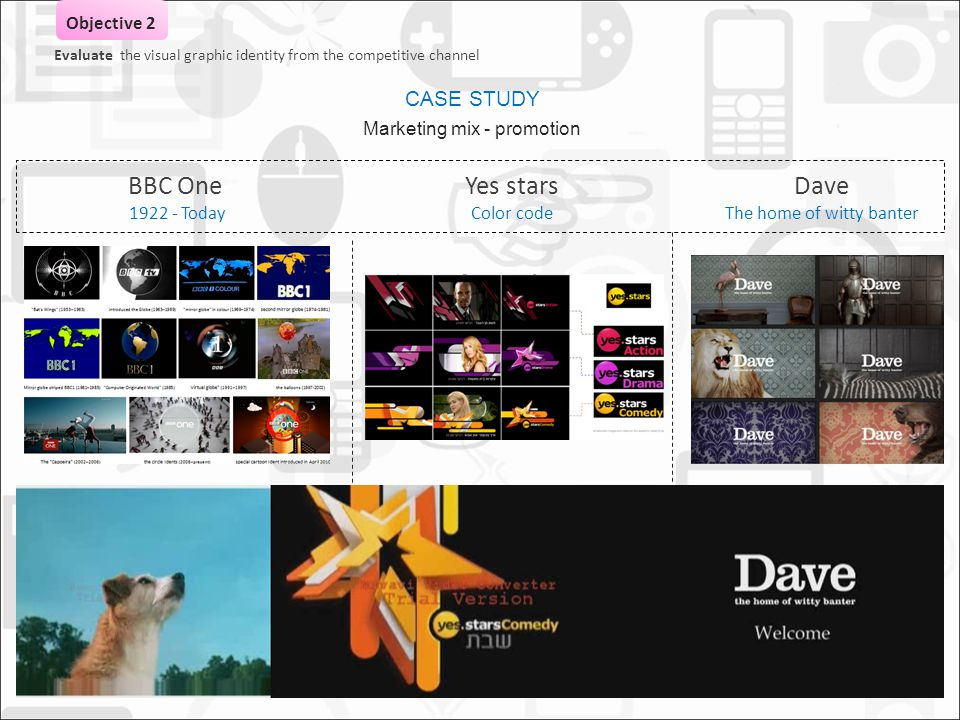 AVITAL BANKAY ACTON 0936872 MA DESIGN BRANDING STRATAGY BBC One 1922 - Today Yes stars Color code Dave The home of witty banter Evaluate the visual graphic identity from the competitive channel Objective 2 CASE STUDY Marketing mix - promotion