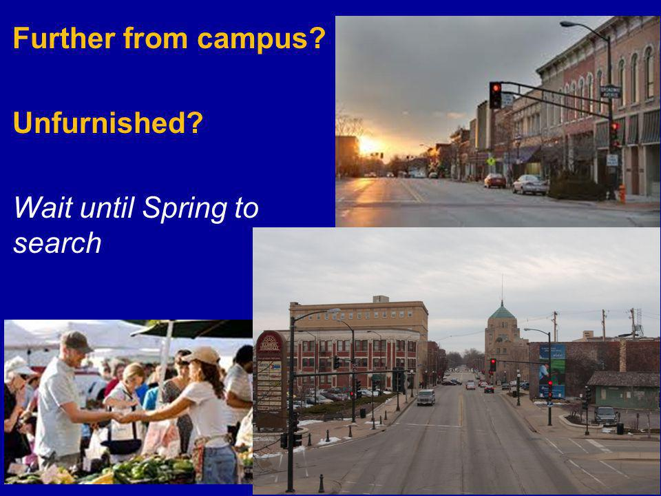 Further from campus? Unfurnished? Wait until Spring to search