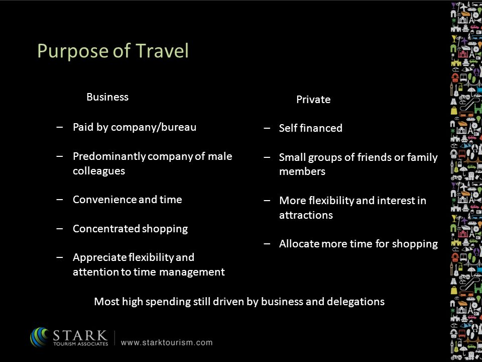 Business –Paid by company/bureau –Predominantly company of male colleagues –Convenience and time –Concentrated shopping –Appreciate flexibility and attention to time management Private –Self financed –Small groups of friends or family members –More flexibility and interest in attractions –Allocate more time for shopping Most high spending still driven by business and delegations Purpose of Travel