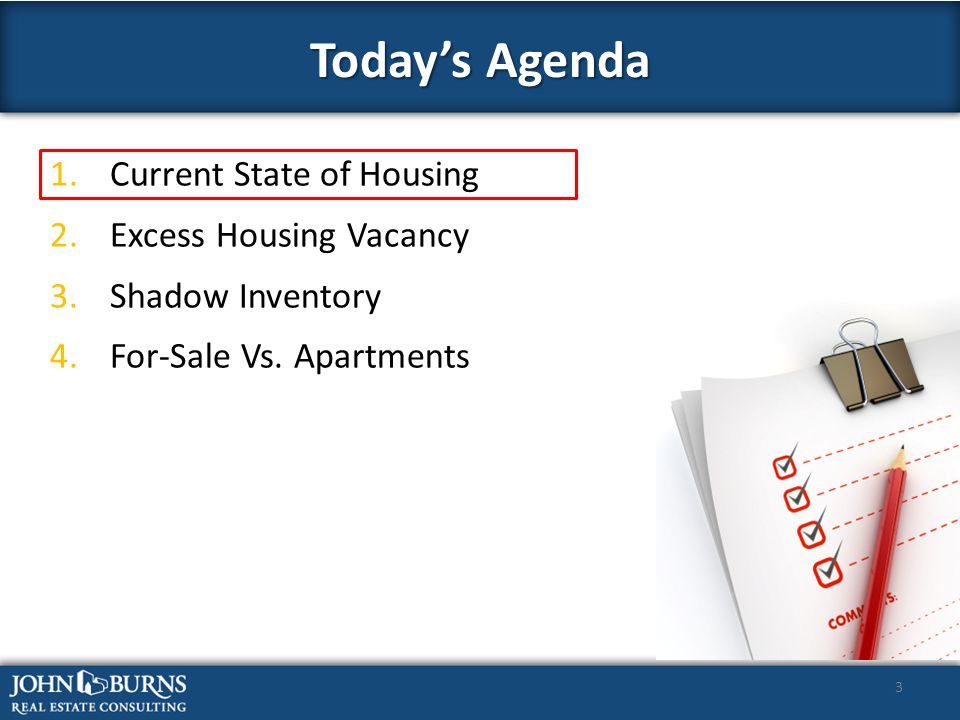 3 1.Current State of Housing 2.Excess Housing Vacancy 3.Shadow Inventory 4.For-Sale Vs.