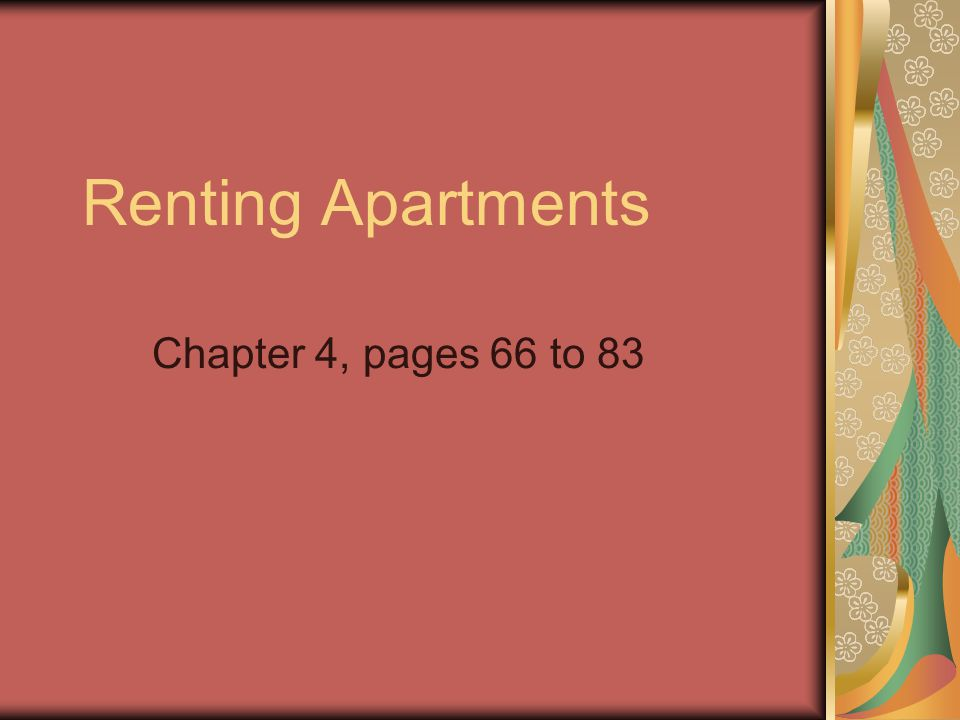 Renting Apartments Chapter 4, pages 66 to 83