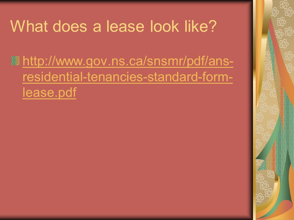 What does a lease look like? http://www.gov.ns.ca/snsmr/pdf/ans- residential-tenancies-standard-form- lease.pdf