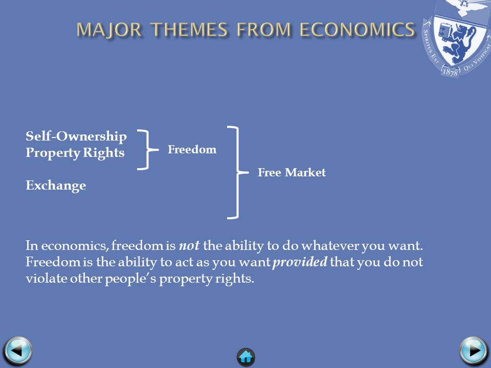 Self-Ownership Property Rights Exchange In economics, freedom is not the ability to do whatever you want.