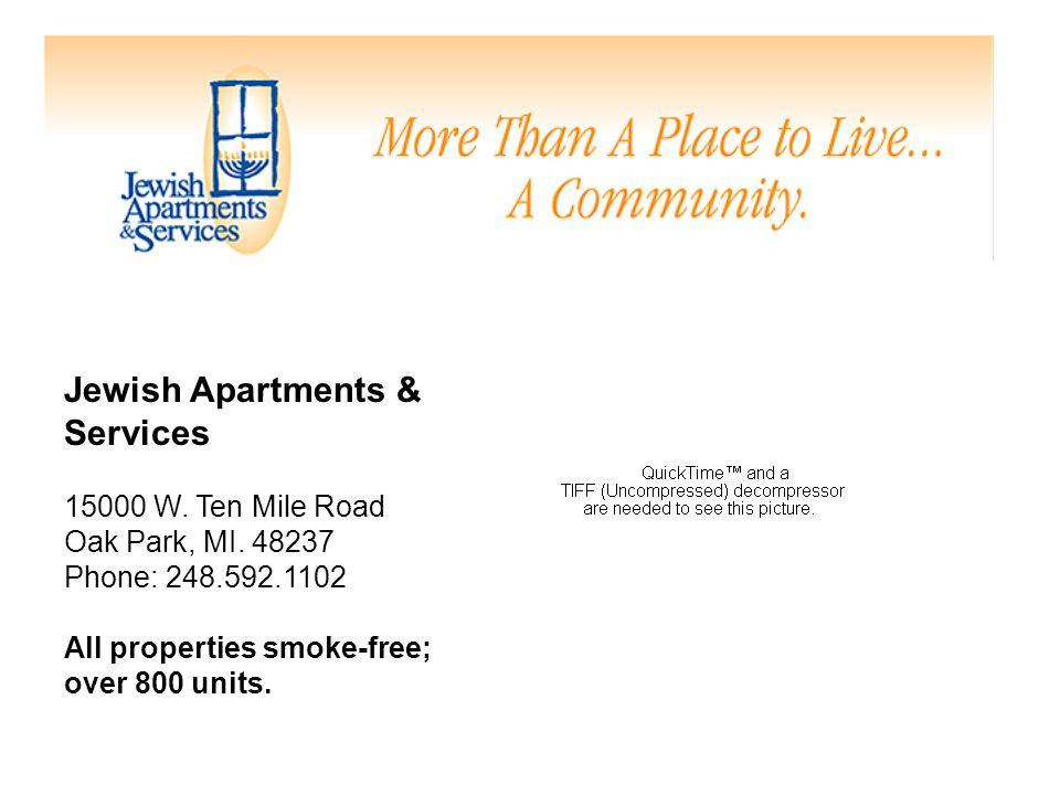 Jewish Apartments & Services 15000 W. Ten Mile Road Oak Park, MI.
