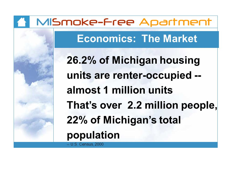 Economics: The Market 26.2% of Michigan housing units are renter-occupied -- almost 1 million units Thats over 2.2 million people, 22% of Michigans total population -- U.S.