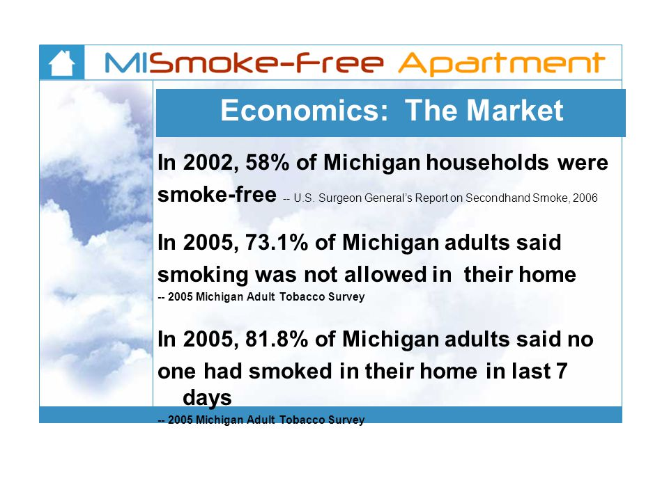 Economics: The Market In 2002, 58% of Michigan households were smoke-free -- U.S.