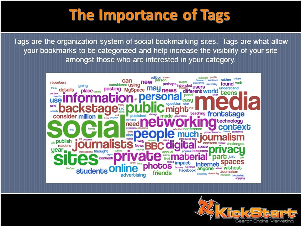 The Importance of Tags Tags are the organization system of social bookmarking sites.