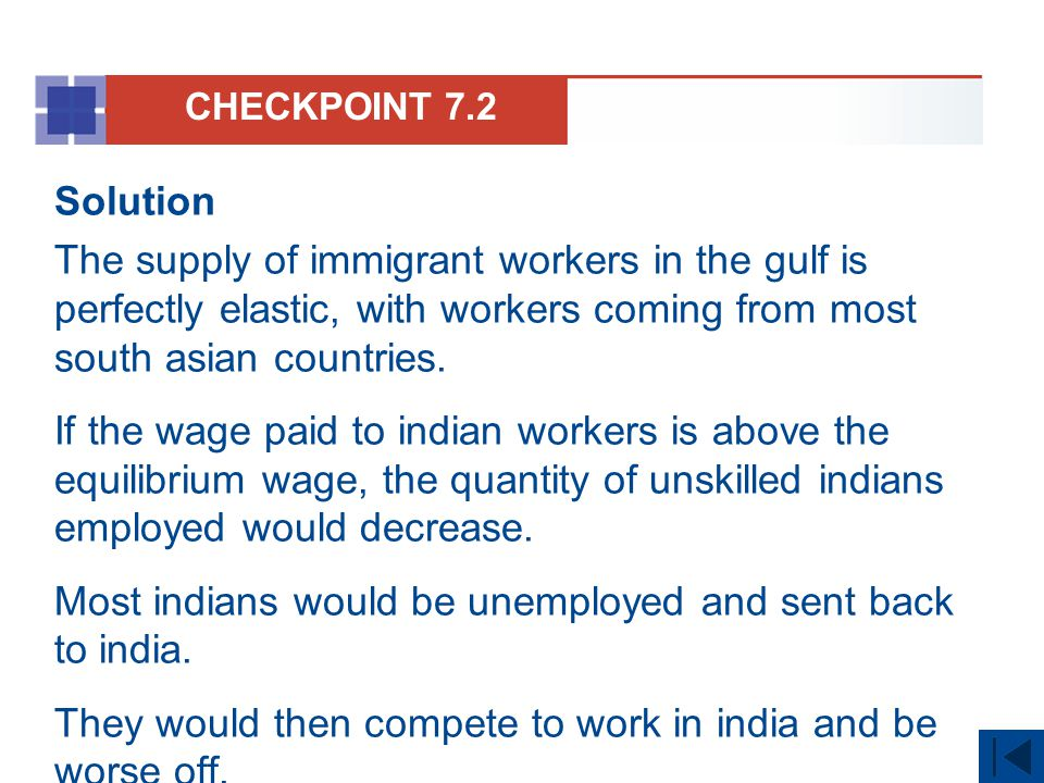 CHECKPOINT 7.2 Solution The supply of immigrant workers in the gulf is perfectly elastic, with workers coming from most south asian countries. If the