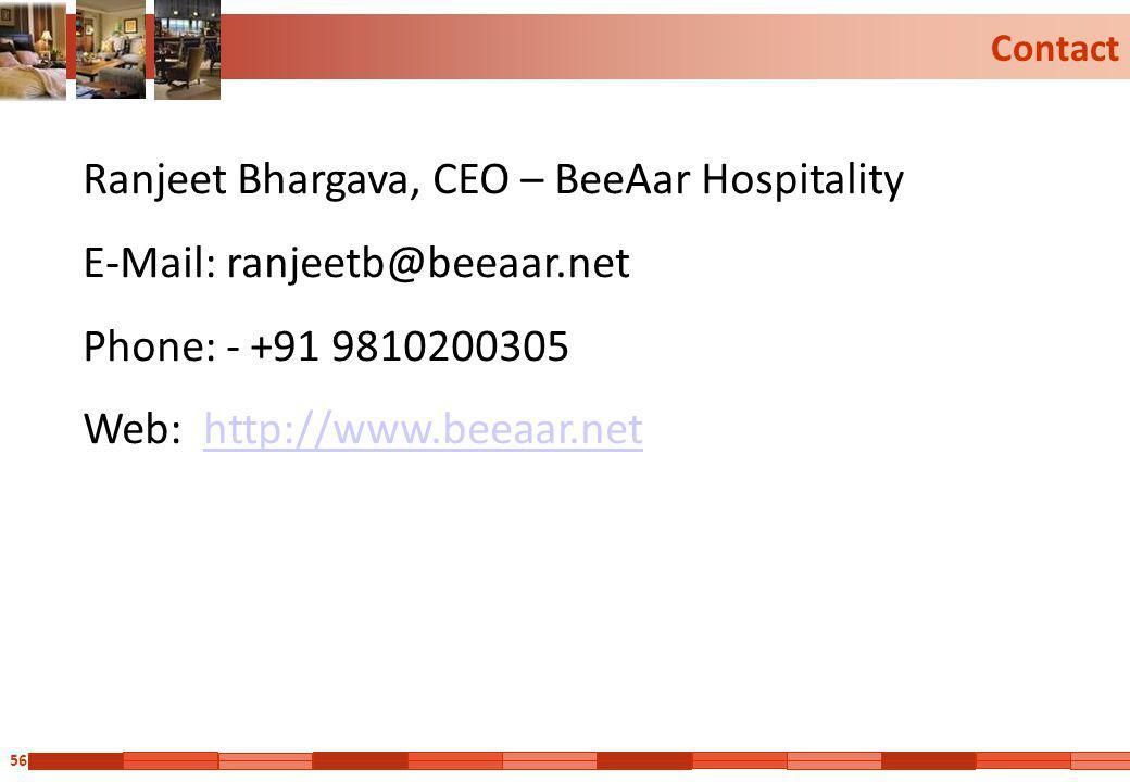 56 Contact Ranjeet Bhargava, CEO – BeeAar Hospitality E-Mail: ranjeetb@beeaar.net Phone: - +91 9810200305 Web: http://www.beeaar.nethttp://www.beeaar.