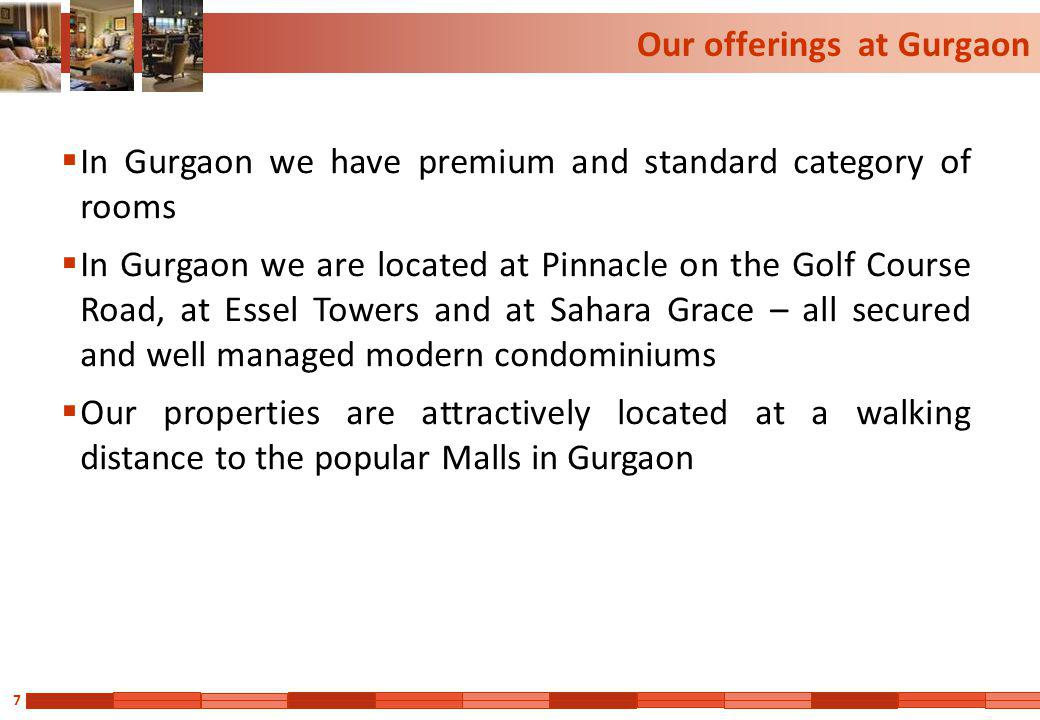 8 Premium Apartment at Pinnacle, Gurgaon 4200 sq ft 4 bed room apartments High Fire fighting/ Safety standards Very Well furnished and spacious rooms Balcony with each room Fully Air conditioned Separate wardrobe area/ dressing room Digital TV/ Mini Bar/ Wireless internet in each room Gym/ swimming pool/ other club facilities 7*24 hour attendant / kitchen