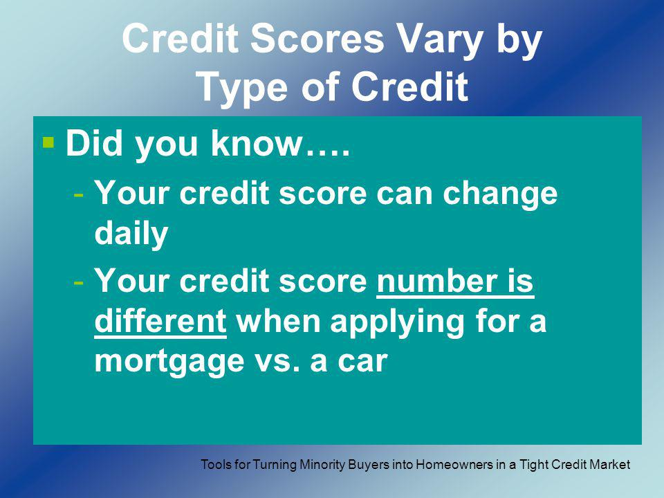 Credit Scores Vary by Type of Credit Did you know…. -Your credit score can change daily -Your credit score number is different when applying for a mor