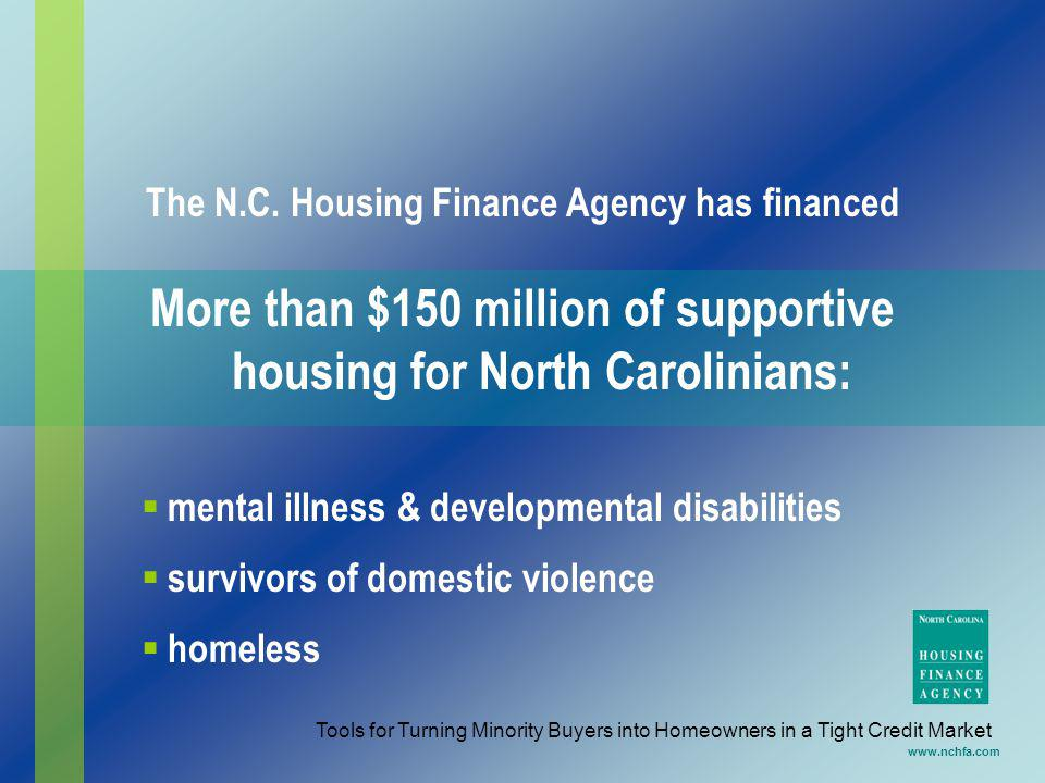 More than $150 million of supportive housing for North Carolinians: www.nchfa.com The N.C. Housing Finance Agency has financed mental illness & develo