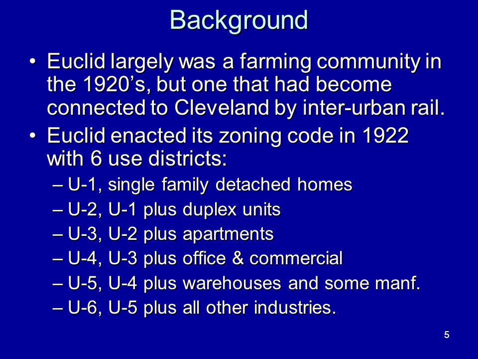 5Background Euclid largely was a farming community in the 1920s, but one that had become connected to Cleveland by inter-urban rail.Euclid largely was a farming community in the 1920s, but one that had become connected to Cleveland by inter-urban rail.