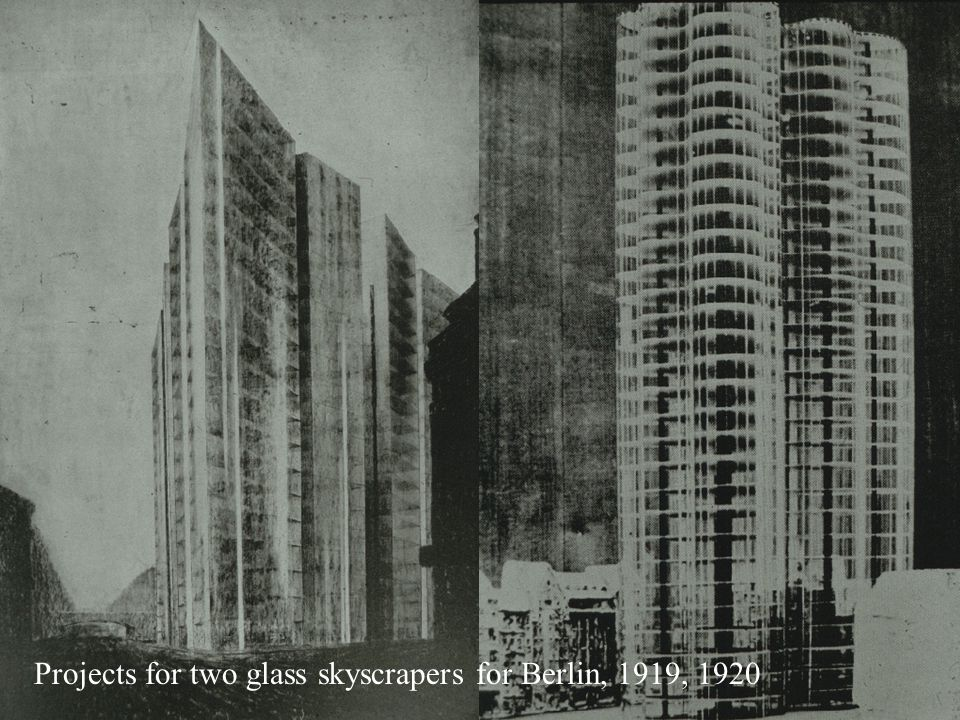 Projects for two glass skyscrapers for Berlin, 1919, 1920