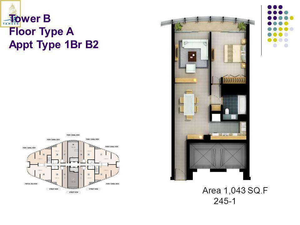 Tower B Floor Type A Appt Type 1Br B2 Area 1,043 SQ.F 245-1