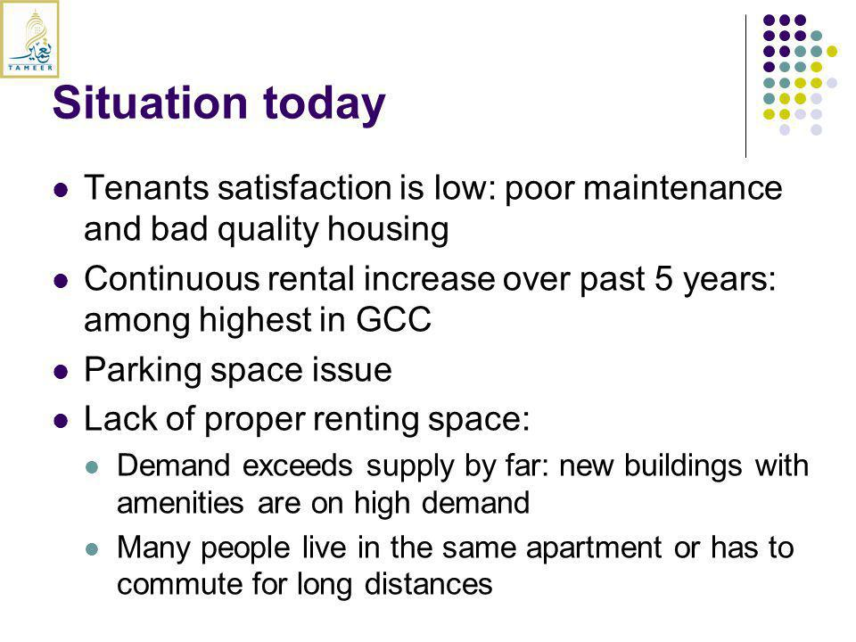 Tenants satisfaction is low: poor maintenance and bad quality housing Continuous rental increase over past 5 years: among highest in GCC Parking space issue Lack of proper renting space: Demand exceeds supply by far: new buildings with amenities are on high demand Many people live in the same apartment or has to commute for long distances Situation today