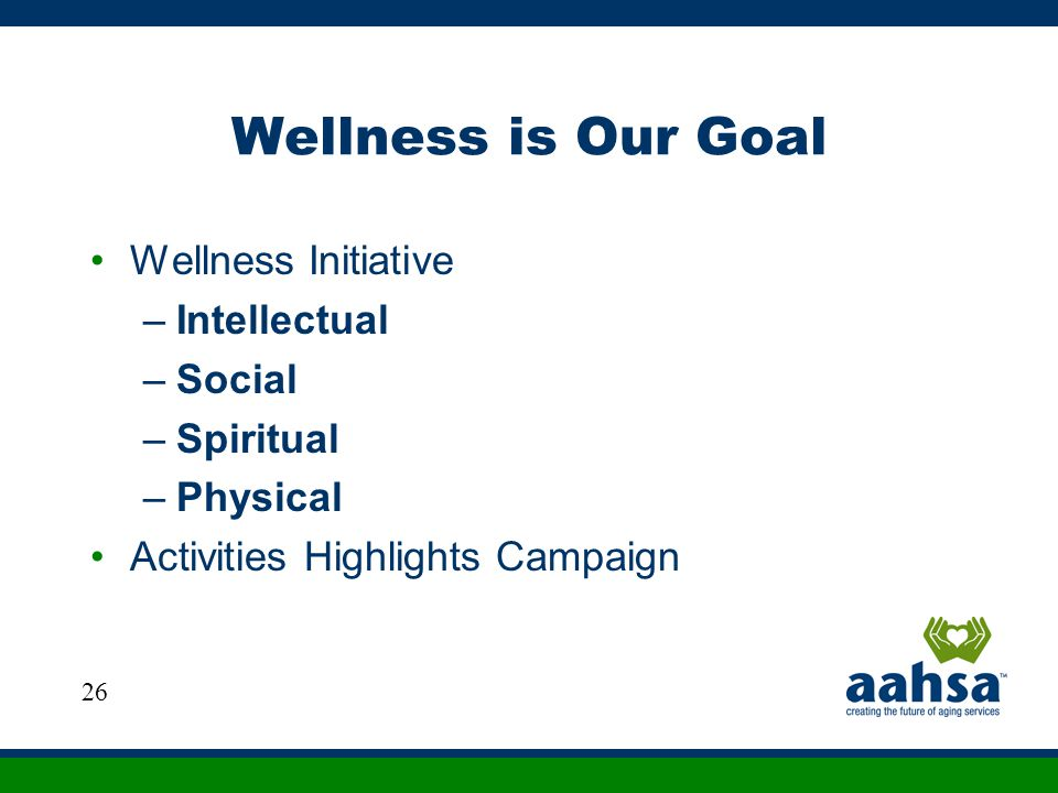 Wellness is Our Goal Wellness Initiative –Intellectual –Social –Spiritual –Physical Activities Highlights Campaign 26